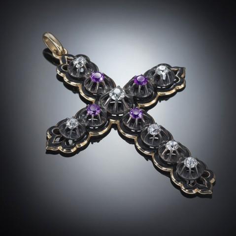 Croix émaillée diamants améthystes Louis Philippe Ier (1830 – 1848)