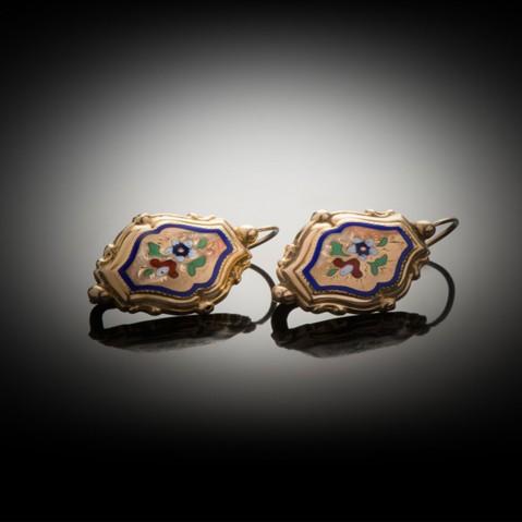 Boucles d'oreilles émaillées Napoléon III (1851 – 1871)