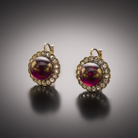 Boucles d'oreilles grenats cabochon diamants fin XIXe siècle