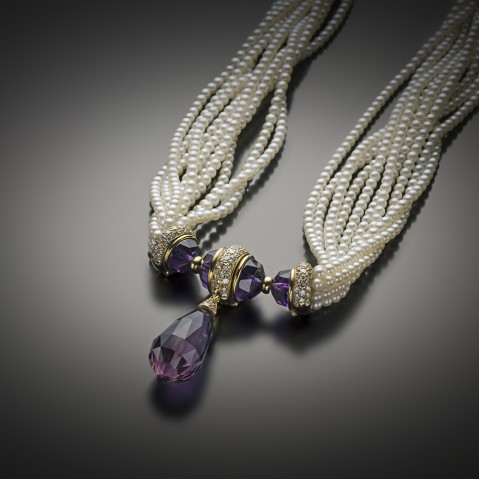 Collier Mellerio dits Meller améthystes diamants perles