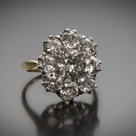 Bague vers 1900 diamants 3,40 carats