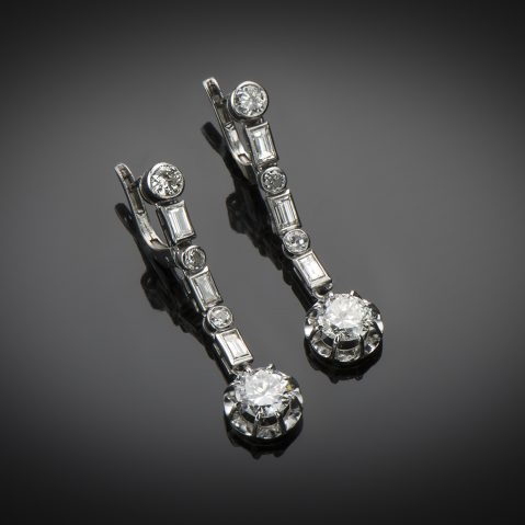 Pendants d'oreilles diamants (3,20 carats) vers 1935
