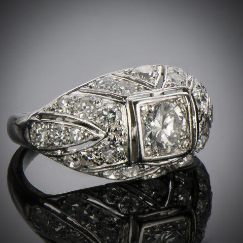 Bague diamants Art Déco 1,20 carat
