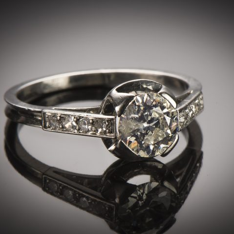 Bague solitaire diamants Art Déco (vers 1930)