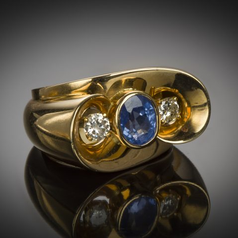 Bague saphir diamants (vers 1940 – 1950)