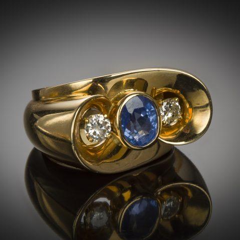 Bague saphir diamants (vers 1940 – 1950)