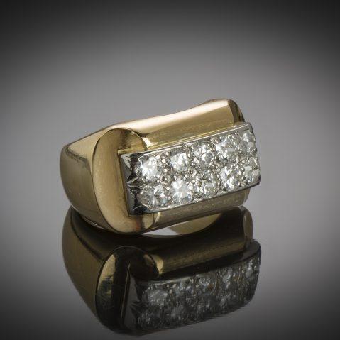 Bague «Tank» diamants (vers 1940)