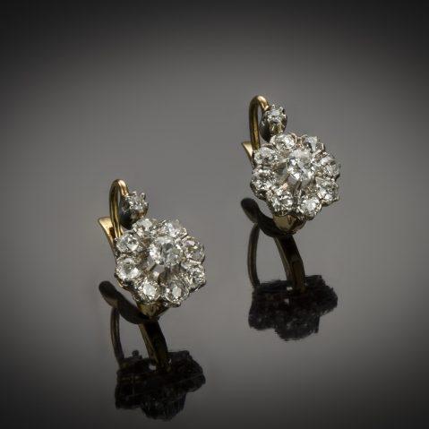 Boucles d'oreilles diamants 1,50 carat début XXe siècle