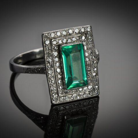Bague Art Déco émeraude Colombie (certificat LFG) diamants