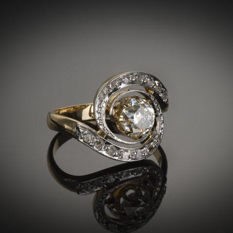 Bague «tourbillon» fin XIXe siècle diamants (centre 1,30 carat)
