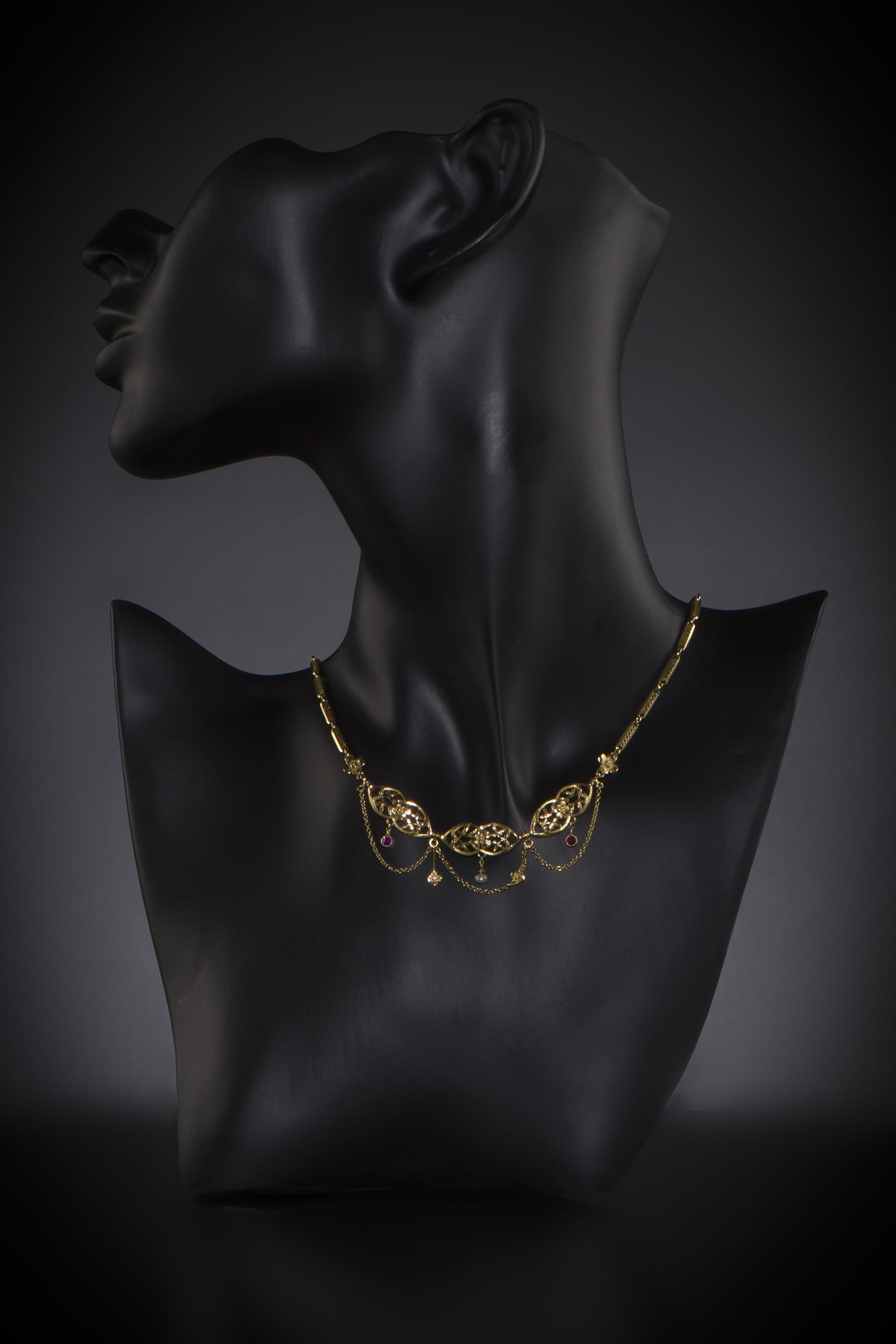 Collier rubis perles fines début XXe siècle-2