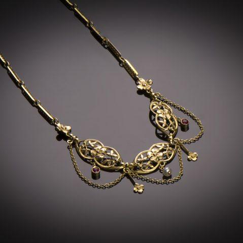 Collier rubis perles fines début XXe siècle