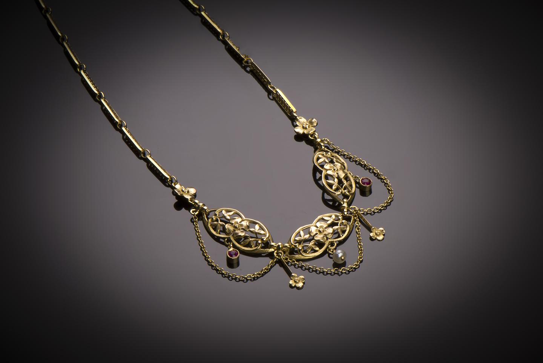 Collier rubis perles fines début XXe siècle-1