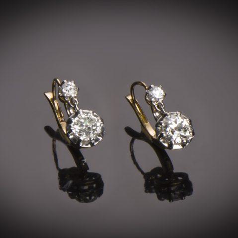 Boucles d'oreilles diamants (2 carats) vers 1900