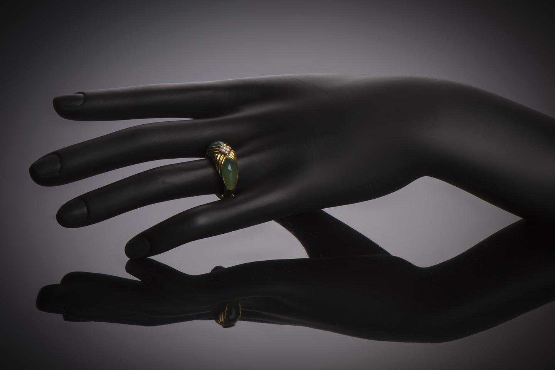 Bague Mellerio dits Meller diamant princesse chrysoprase-2