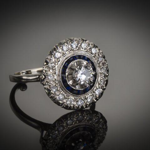 Bague diamants saphirs Art Déco (vers 1930)