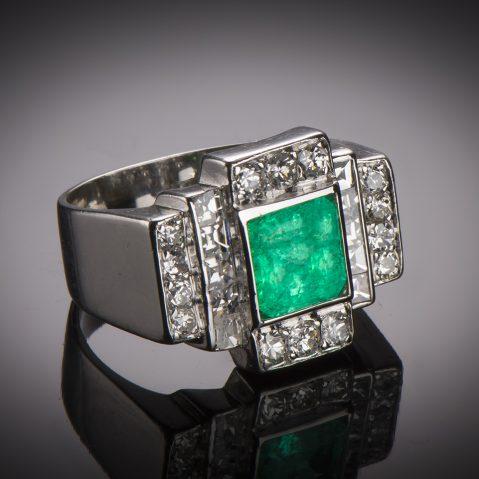 Bague émeraude diamants Art Déco (vers 1935)