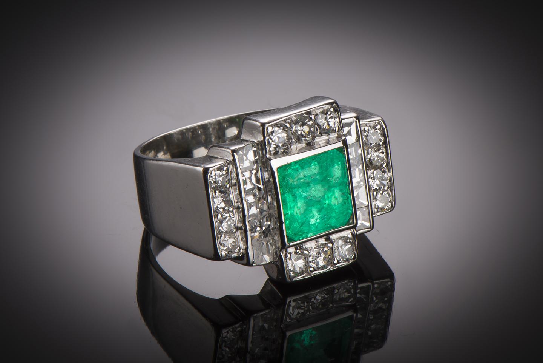 Bague émeraude diamants Art Déco (vers 1935)-1