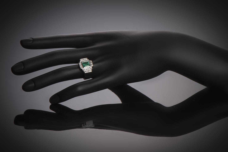 Bague émeraude diamants Art Déco (vers 1935)-2