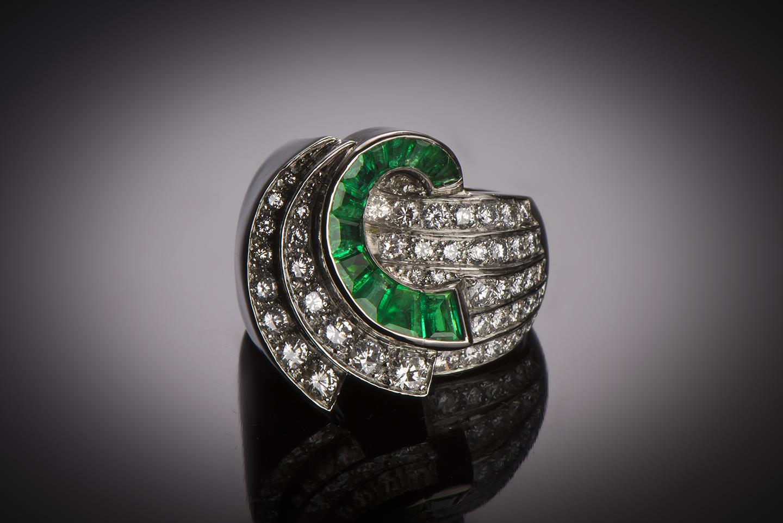 Bague diamants (3 carats) émeraudes (2 carats) vers 1935 – 1940-1