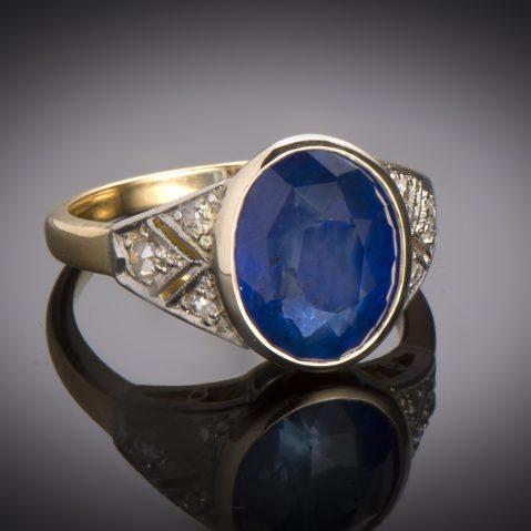 Bague Art Déco saphir (6,15 carats, certificat) diamants