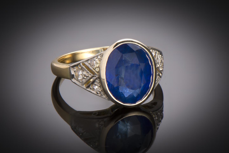 Bague Art Déco saphir (6,15 carats, certificat) diamants-1