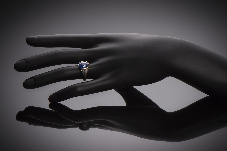 Bague Art Déco saphir (6,15 carats, certificat) diamants-2