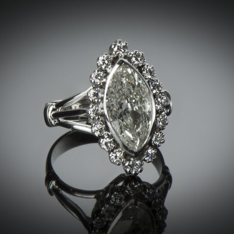 Bague diamant marquise 3 carats (vers 1950)