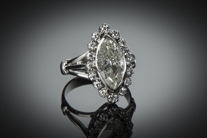 Bague diamant marquise 3 carats (vers 1950)-1