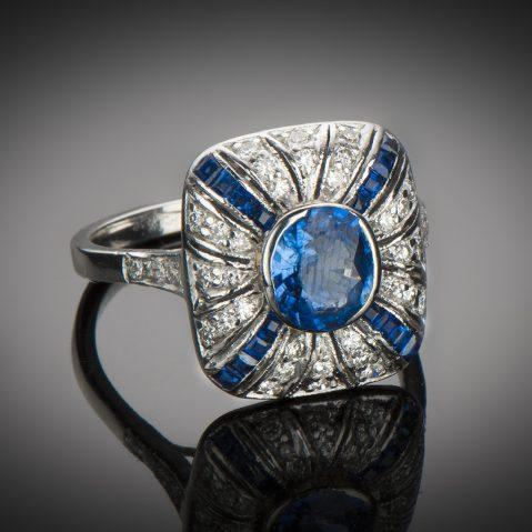 Bague saphir diamants Art Déco (vers 1930)