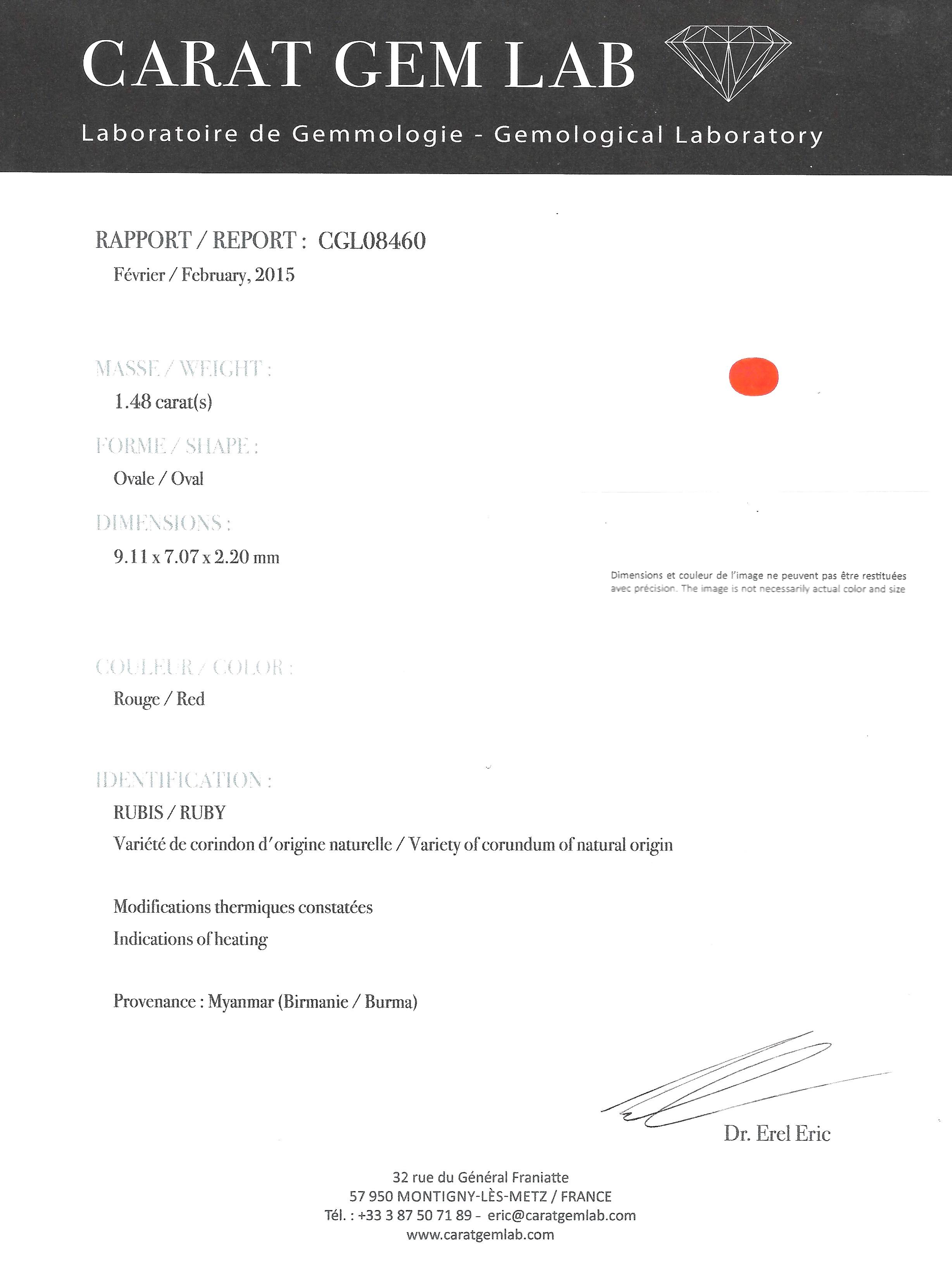 Bague rubis birman (certificat CGL) diamants-3
