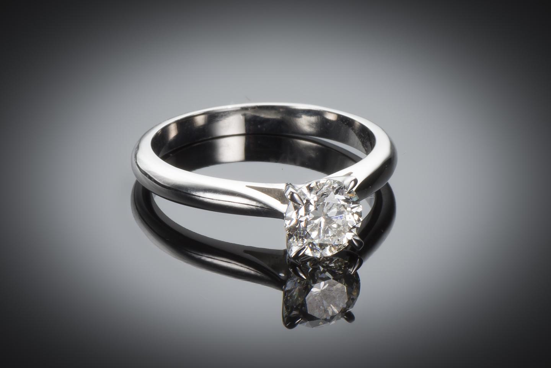 Bague solitaire diamant brillant 0,91 carat (certificat LFG)-1