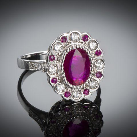 Bague rubis birman (certificat CGL) diamants