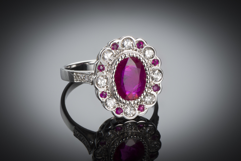 Bague rubis birman (certificat CGL) diamants-1