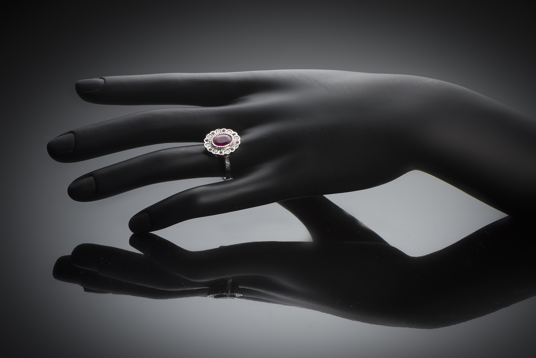 Bague rubis birman (certificat CGL) diamants-2