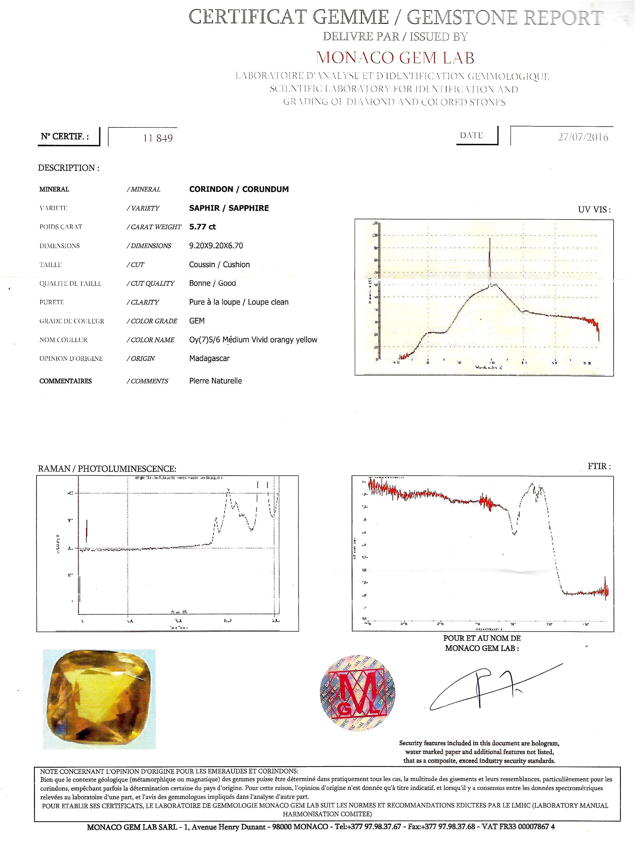 Bague saphir jaune naturel (5,77 carats, certificat MGL) diamants-3
