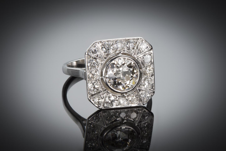 Bague diamants (2,80 carats) Art Déco-1