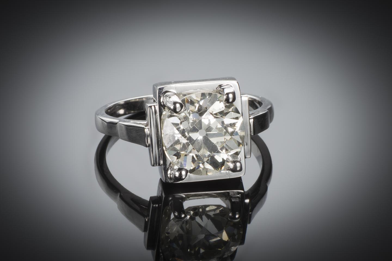 Bague solitaire Art Déco diamant (3 carats)-1