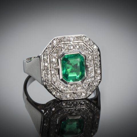 Bague émeraude diamants vers 1935