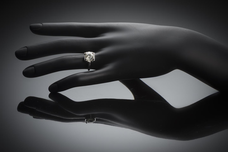 Bague solitaire Art Déco diamant (3 carats)-2