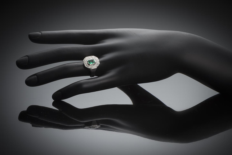 Bague émeraude diamants vers 1935-3