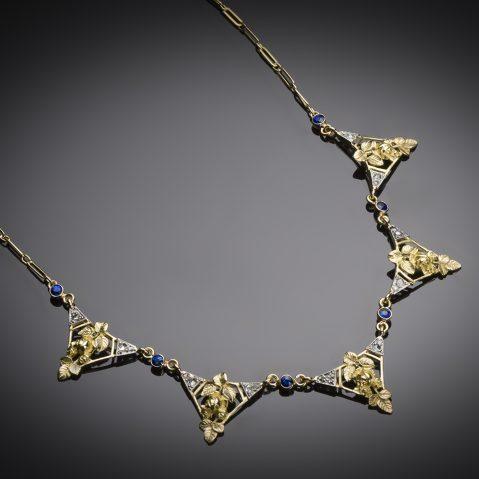 Collier saphirs diamants Art nouveau (vers 1900)