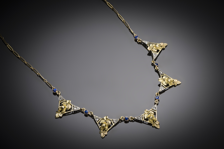 Collier saphirs diamants Art nouveau (vers 1900)-1