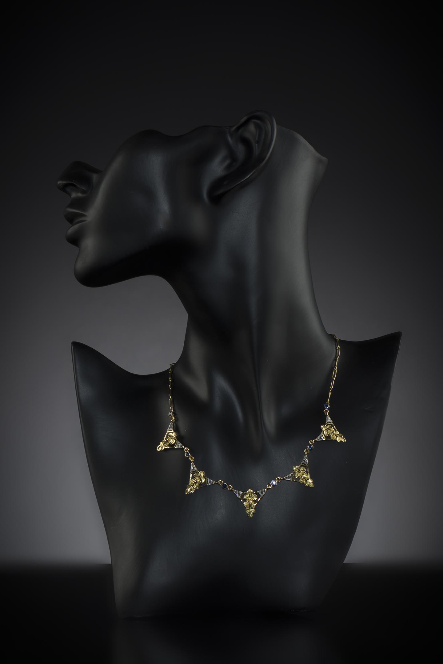 Collier saphirs diamants Art nouveau (vers 1900)-2