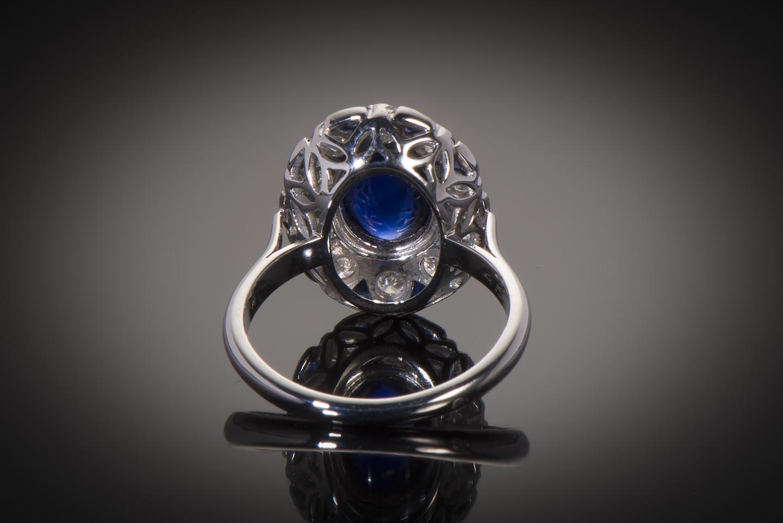 Bague saphir cabochon diamants Art Déco (vers 1930)-2