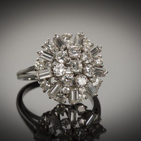 Bague diamants (2 carats) vers 1950