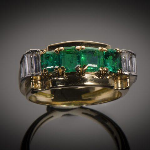 Bague émeraudes diamants (vers 1940)
