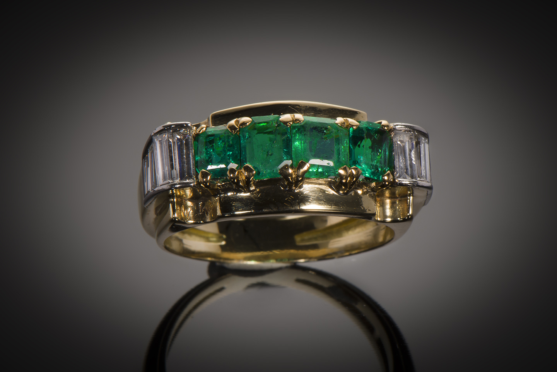 Bague émeraudes diamants (vers 1940)-1
