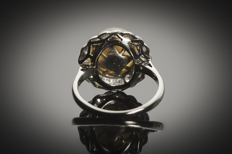 Bague Art Déco perle fine 11 mm (certificat LFG) diamants-2