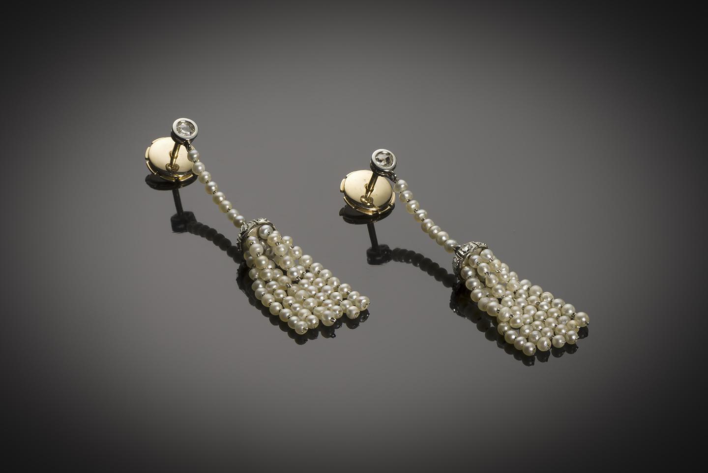 Boucles d'oreilles perles fines diamants Art Déco-1